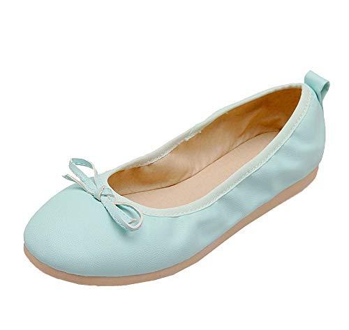Basso Flats Tacco AllhqFashion Donna Chiusa Ballet Puro Azzurro FBUIDC010873 Punta Tirare rtwr1d8qE