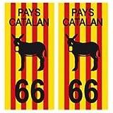 Automobilia Capable 2 Immatriculation 66 Pyrenees Orientales Catalan Catalunya Sticker Autocollant Badges, Insignes, Mascottes