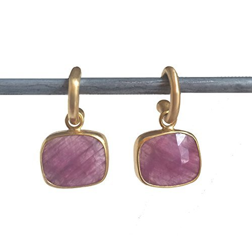 22k Rose Cut Ruby Victoria Dangles for Hoops ()