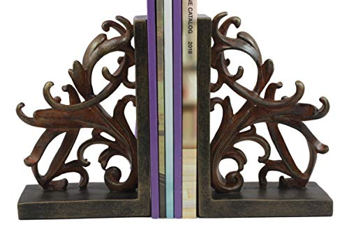 (Ebros Vintage Design Ornate Scroll Bookends Set Scroll Art Statue Pair 7.5