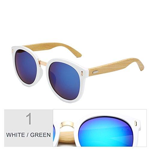 TIANLIANG04 Green Gafas Mujer Con Sol Para Regalo Gris De Negro Gradual De Caja Redondo White Color La Espejo TTfqndwxr