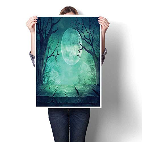 Wall Art Scenery Oil Painting Halloween Background Spooky Forest with Full Moon and Wooden Table Oil Painting,32