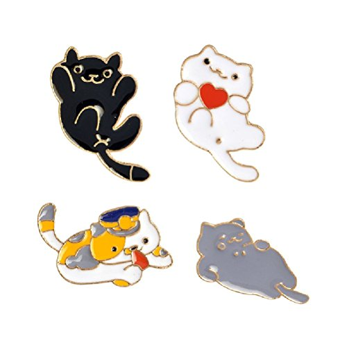 Fun Daisy Fashion Alloy Cute Pretty Collar Pin Badge Corsage Cartoon Brooch Jewellery (Cat Set)