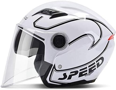 ZJJ ヘルメット- パーソナライズ雨と紫外線保護ヘルメット、スタイリッシュな電気オートバイのヘルメット、ダブルレンズ (色 : 白, サイズ さいず : One size)