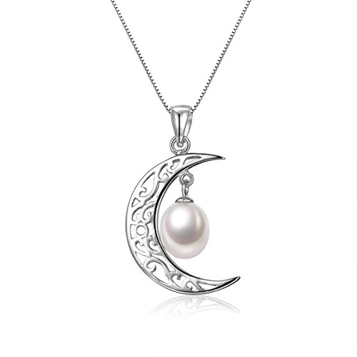 Pearl Necklace 925 Sterling Silver Crescent Moon with 7-8mm Freshwater Cultured Pearl - VIKI LYNN