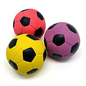 """Chiwava 3PCS 2.7"""" Squeak Latex Dog Toy Football Chew Fetch Throw Ball for Medium Dogs Interactive Play"""
