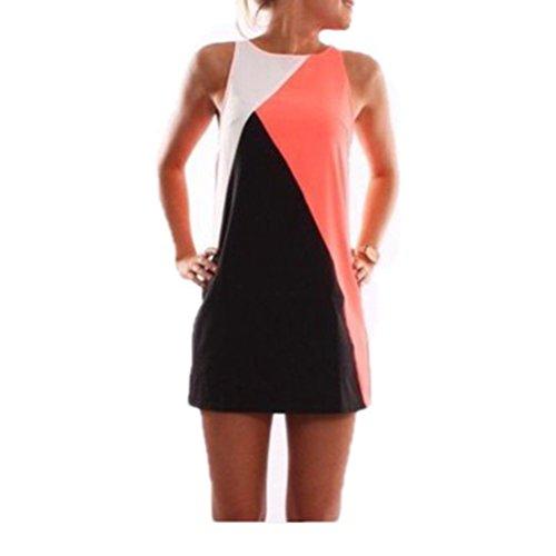 WanYang Mujeres Casual De Verano Sin Mangas De La Fiesta De Cóctel Clubwear Corto Mini Vestido(Un poco hacia atrás transparentes, vestidos de playa) Naranja