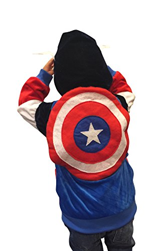 [Halloween Costumes Kids Captain America Superhero Costume Hoodie Sweatshirt (18-24mo)] (Captain America First Avenger Halloween Costume)