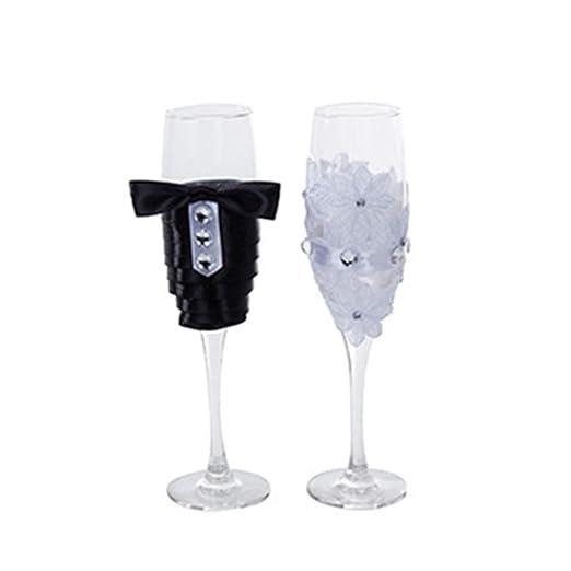 UKNANY Juego de copas de vino para novio y novia, ideal para ...