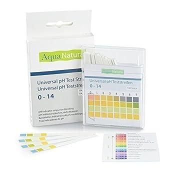 AquaNatura Bandelettes de test pH, Échelle de 0 à 14 (100 pièces) Bandelettes de contrôle acido-basique, 1