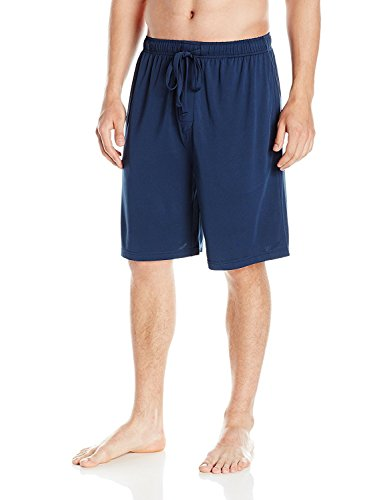 Cotton Pj Shorts (SGNOIEY Men's Sleep Shorts,100% Cotton Knit Sleep Shorts & Lounge Wear-Blue L)