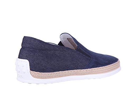 Tods Slip Sur Les Hommes En Daim Sneakers Nouveau Original En Caoutchouc Raphia Tv Bleu