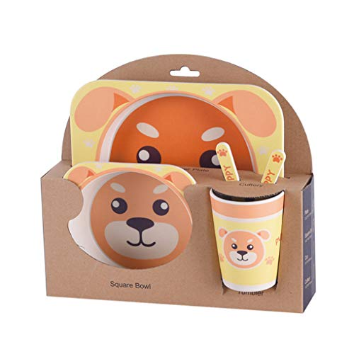 Chilie Kids Tableware Set 5Pcs Baby Bamboo Fiber Cartoon Bowl Animal Dinnerware Set Toddler Cup Spoon Fork by Chilie