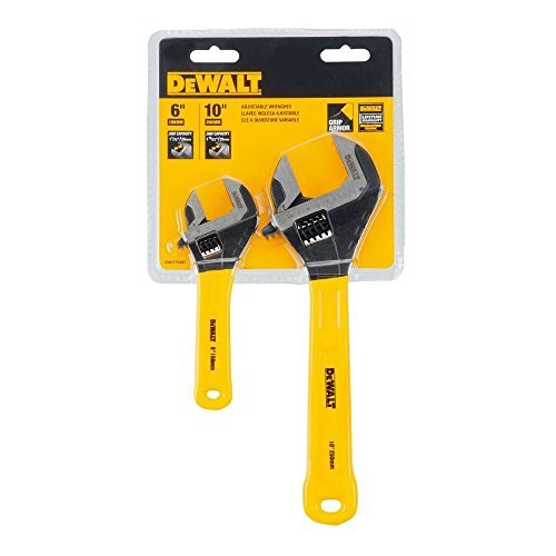 Dewalt DWHT75497 2 Pc. Dip Grip Adjustable Wrench, Yellow