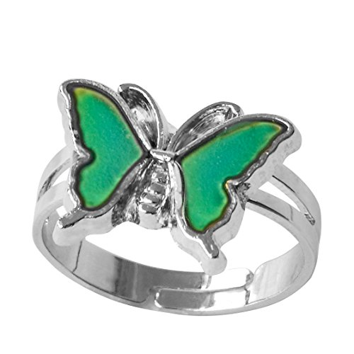 g Butterfly Color Change Adjust Size Decorations Finger Ring (Butterfly Mood Ring)