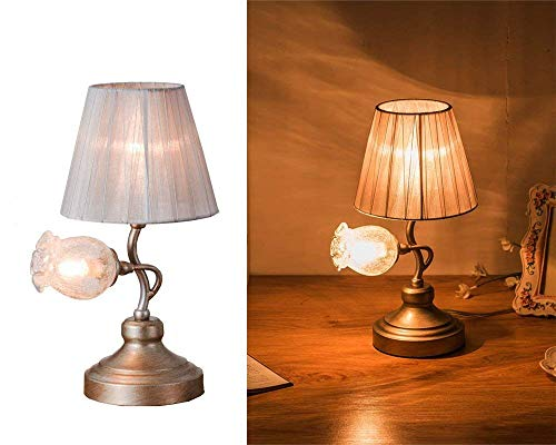 SALSA LIGHTING Crafted Table Lamp Colored Pomegranate Flower Accen Shaped Glass Shade + Cloth Shade Desk Lamp with Bronze Base for Art Deco, Bedside,Bedroom,Dining Room,Living Room, Silver
