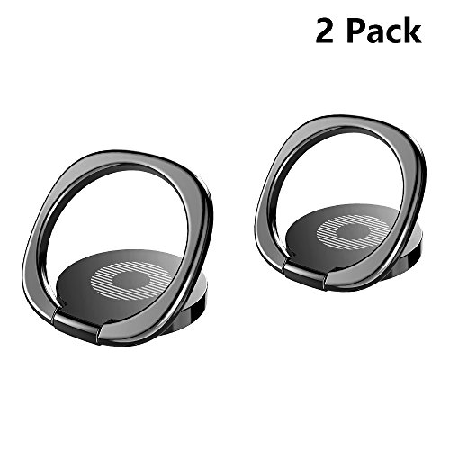 Phone Ring, BASEUS Finger Ring Stand [2Pack] Ultra-thin Swivel Ring Buckle Phone Grip Kickstand Cell Phone Stand for Universal Smartphone iPhone X 8 Plus 7 7 Plus /6s 6 plus /Galaxy S8 plus (Black)