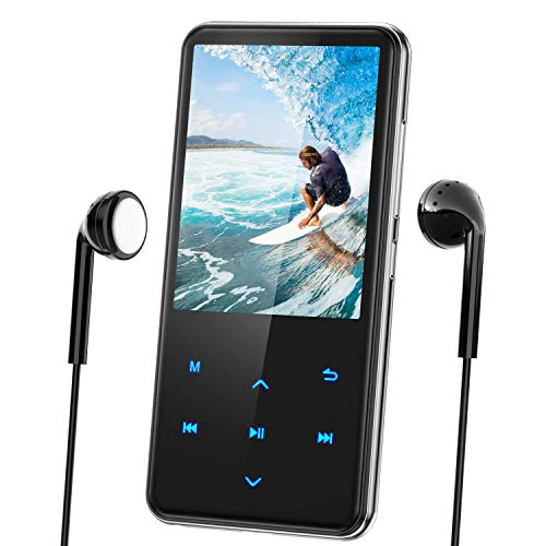 "MP3 Player with Bluetooth, AGPTEK 2.4"" Screen 16GB Lossless Music Player, Built-in Speaker, Touch Button, Support FM Radio Recording, up to 128GB (Earphone, Screen Protector)"