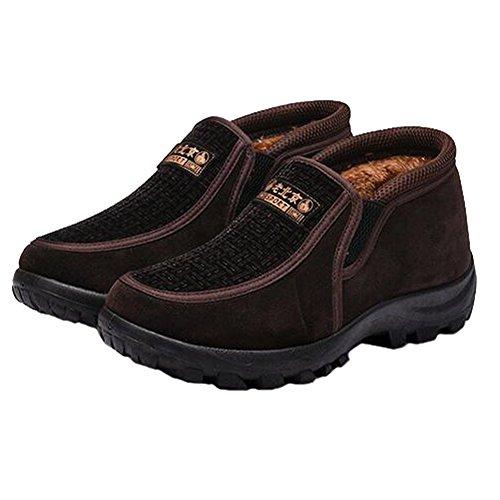 Angelliu Comfy Hombres Winter Warm Zapatos De Nieve De Felpa Antideslizantes Botines Old Beijing Zapatos Para Mediados De Edades Café