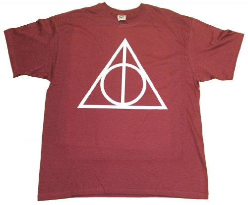21 Century Clothing Men's Deathly Hallows Harry Potter Symbol T - Shirt Small Burgundy