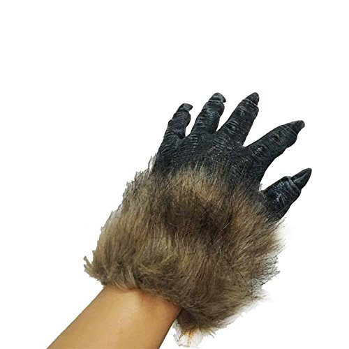 (ShiningLove Men's Brown Hairy Wolf Claw Gloves Werewolf Hands for Cosplay Show Costume Party Halloween Masquerade)