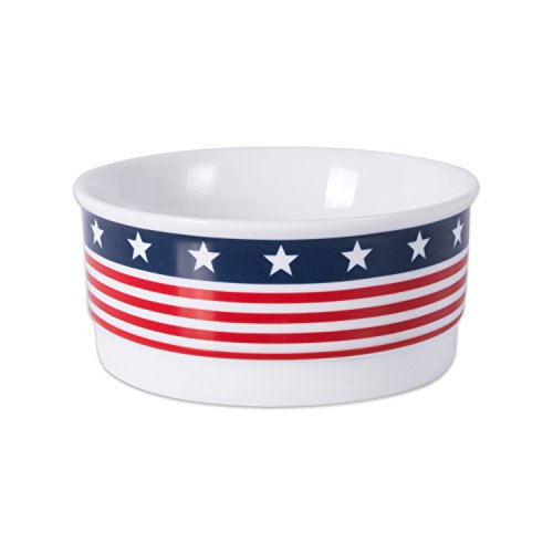 Sassy Star - Bone Dry DII Patriotic Ceramic Pet Bowl for Food & Water with Non-Skid Silicone Rim for Dogs and Cats (Small - 4.25