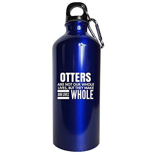 Otters Animal Gift - Make Our Lives Whole - Sea otter present - fur theme - fish - Water Bottle Metallic Blue