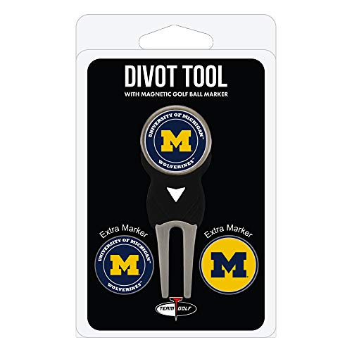 Team Golf NCAA Michigan Wolverines Divot Tool with 3 Golf Ball Markers Pack, Markers are Removable Magnetic Double-Sided Enamel ()