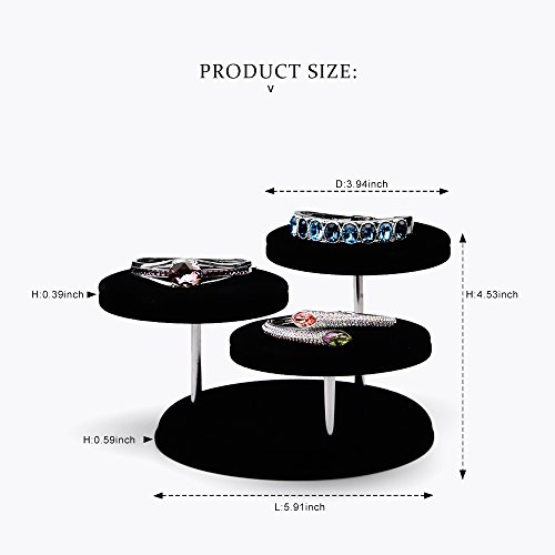 Oirlv Velvet Jewelry Towers Display Stand Organizer Rack For Bracelet,Bangle,Watch,Rings Earrings,Jewellery Holder (3 Tier,Black) by Oirlv (Image #5)