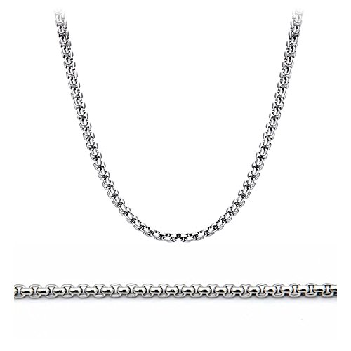 Stainless Steel Cable Necklace - Kissyan Stainless Steel 1.5mm to 3.5mm Rolo Cable Link Chain Necklace For Unisex Adult 16 to 36 Inch Option (2.5 mm-24 inch)
