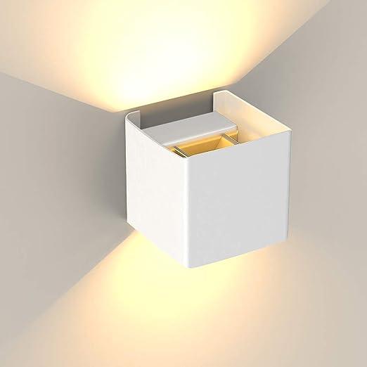 Lampade da Parete per Interni/Esterno 10W 3000K, Hommie Applique da Parete  Alluminio Impermeabile per Camera da Letto, Soggiorno, Corridoio, Luce ...