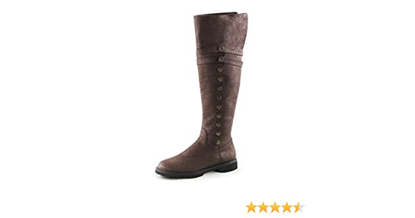 b00f4fc6404bc Summitfashions Men Brown Boots Knee High Pirate Boots with Fold Over Cuff  and 1.5'' Flat Heels