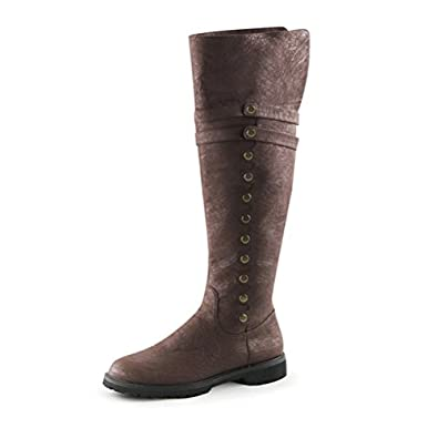 Amazon.com | Men Brown Boots Knee High Pirate Boots with Fold Over ...