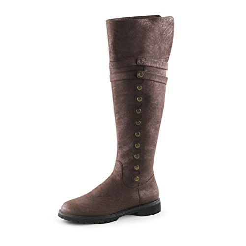 Men Brown Boots Knee High Pirate Boots with Fold Over Cuff and 1.5'' Flat Heels Size: Small (Mens Renaissance Boots)