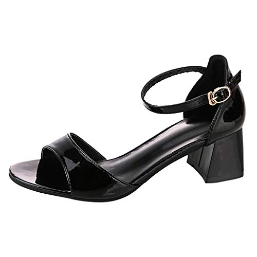 ◕‿◕ Watere◕‿◕ Women Fashion Mixed Colors Buckle Square Heel Casual Sandals Sexy Summer Beach Platform High Heel Sandals Black