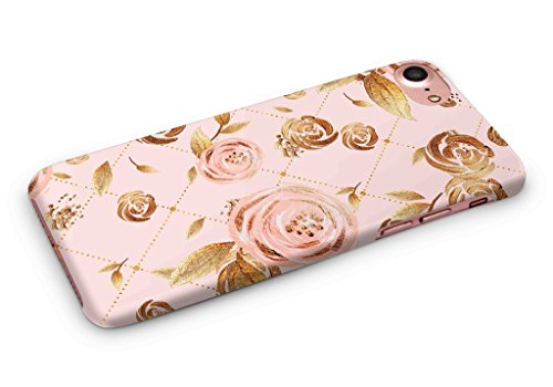 Cover Affair Floral / Flowers Printed Designer Slim Light Weight Back Cover Case for Apple iPhone 7 - 2016 / Apple iPhone 8 - 2017 (Pink & Gold) (Cover Pink Flowers)