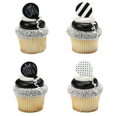 24 Pack Black White Polka Dot Stripes Birthday Cupcake Rings Cake Topper ()