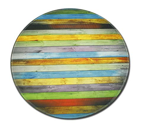 Goodbath Stripes Round Rugs, Color Striped Round Area Rug Non Slip for Bedroom Living Room Study Kids Playing Floor Mat Carpet, 4 Feet, Colorful