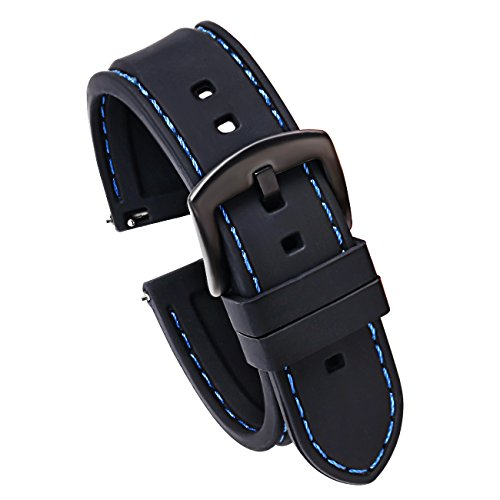 22mm Quick Release Silicone Watch Strap for Watches and Smartwatches Replacement Watch Band Black(Blue Stitching Black Buckle)