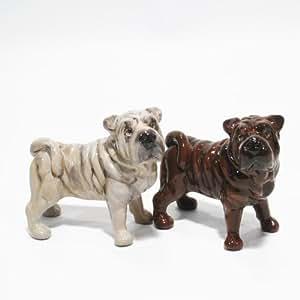 Shar Pei Dog Ceramic Figurine Salt Pepper Shaker 00012 Ceramic Handmade Dog Lover Gift Collectible Home Decor Art and Crafts
