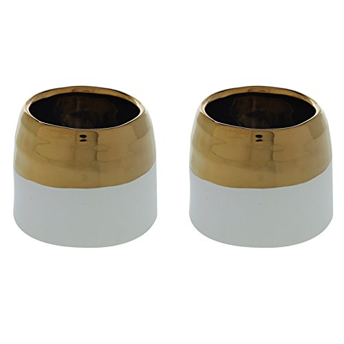 White and Gold Round Ceramic Pot - Set of 2 - 3.5 x 3 Inches - Claire Rippled Metal Planter - Modern Vase Decor for Home or Office