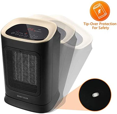 COMLIFE Ceramic Space Heater 1800W/900W with Remote Control Electric Personal Fan Heater Over-Heat and Tilt Protection for Office and Home Use