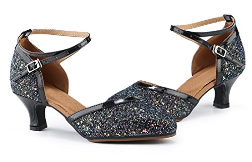 Toe Synthetic Glitter Women's Closed Latin Joymod Modern Heel Ballroom Dance MGM Salsa Prom Rubber Formal 5cm Black Wedding Pumps Heel Samba Shoes Comfort Sole Mid Tango Rumba Party qXwInY