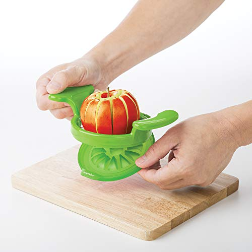 Prepworks by Progressive Wedge and Pop Apple and Pear Slicer, 12 Slices, Attached Safety Cover Protect Fingers while In-Use and Blades while in Storage (12 Slices)