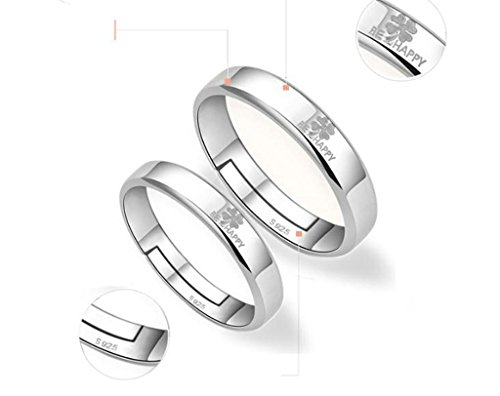 Aooaz Mens Womens Silver Plated Adjustable Ring 2 Pcs, Four Leaf Clover Wedding Ring Promise Ring