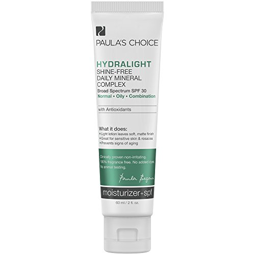 Paula's Choice HYDRALIGHT Shine-Free Mineral Complex SPF 30 Mineral Sunscreen + Antioxidants, 2 Ounce Bottle, Matte-Finish Sunscreen for the Face, Sensitive Skin Facial Sunscreen - And Aqua Skin Hair Care