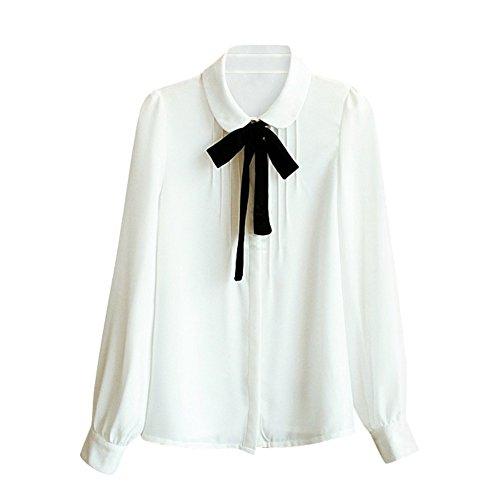 Comemall Teen Girls Chiffon Doll Collar Bowknot Blouse Top Shirt