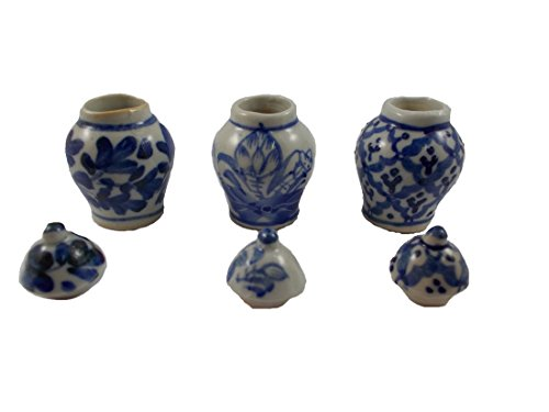 Vintage Pot Antique Chinese Jar Miniatures Ceramic Vase Vintage Furniture Dollhouse Lot Doll 3pc