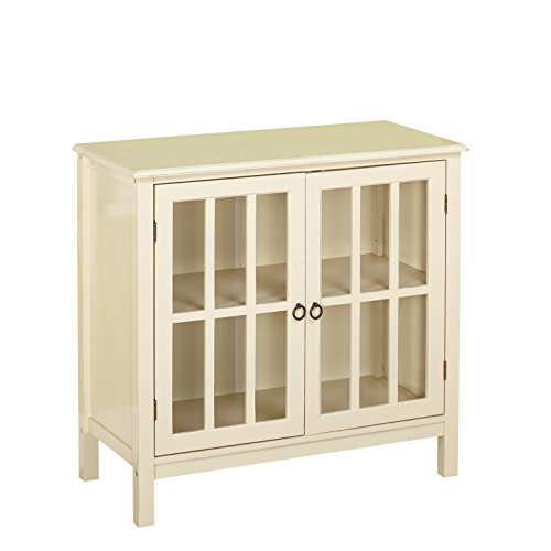 Target Marketing Systems Portland Collection Contemporary China Kitchen Cabinet with Glass Cabinet and One Shelf, Antique White (Large China Cabinet)