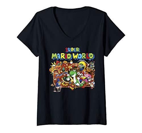 Womens Super Mario World Retro Map V-Neck -